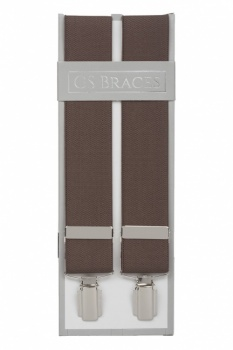 Plain Taupe Trouser Braces Suspenders